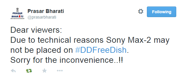 SONY MAX-2 Channel May Not come on DD Freedish