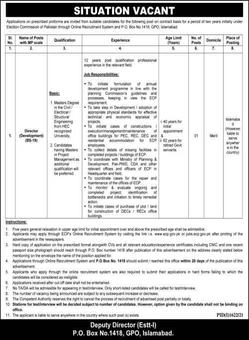 Director Development Islamabad jobs 2021