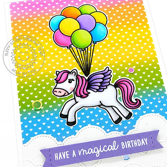 Sunny Studio Stamps: Prancing Pegasus Floating By Fluffy Clouds Border Dies Magical Pegasus Birthday Card by Anja Bytyqi