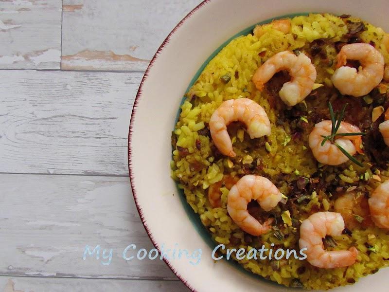 Оризова торта със скариди и шамфъстък * Tortino giallo con gamberi e pistacchi