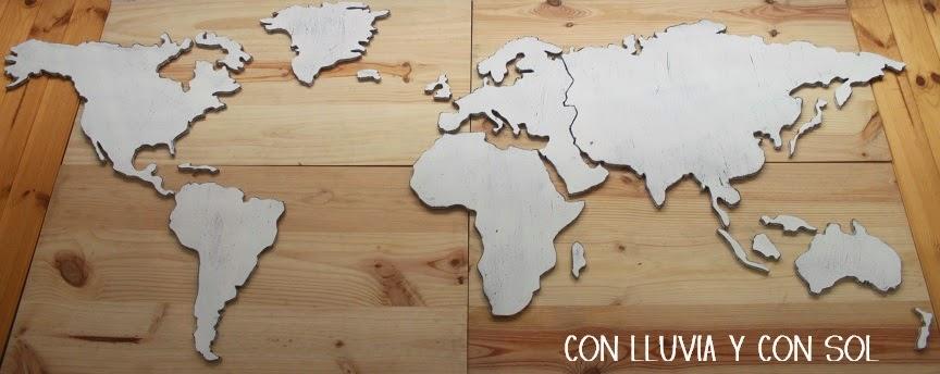 Con lluvia y con sol mapamundi de madera para pared en blanco vintage - Murales de madera ...