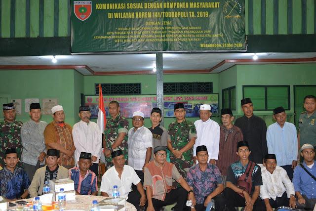 Korem 141/Tp Gelar Komsos Dengan Kompone Masyarakat di Wilayah Ternya