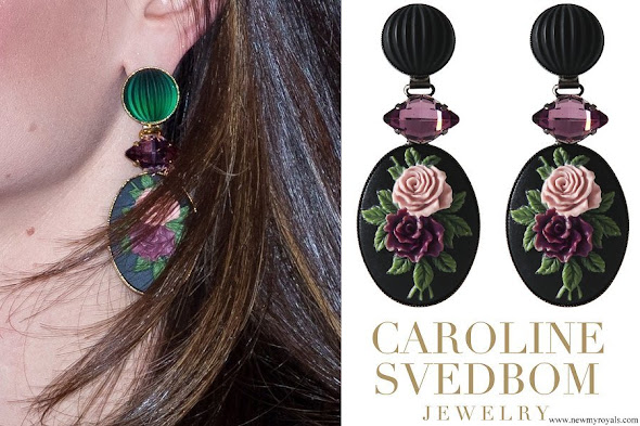 Princess Sofia wearring Caroline Svedbom Rosa Flower Earrings