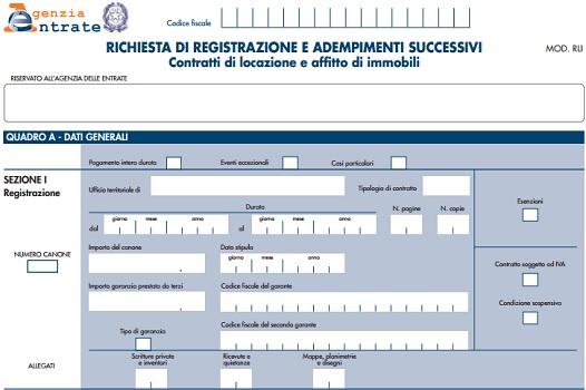 Modello rli per contratti di locazione come compilare il for Detrazione canone locazione
