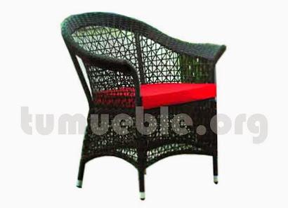 sillón para comedor hecho en aluminio y rattan sintético 6080