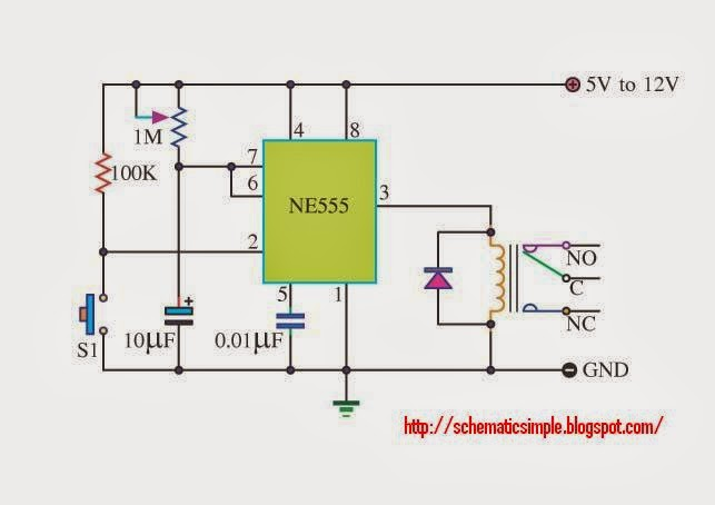 Timer Control With Ne555 Schematic Simple
