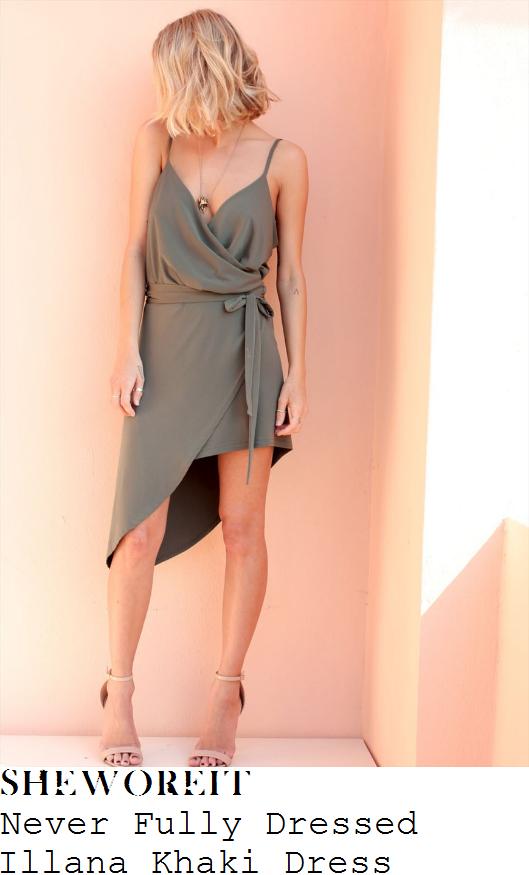 ferne-mccann-never-fully-dressed-illana-khaki-green-sleeveless-cami-strap-wrap-front-asymmetric-slip-dress