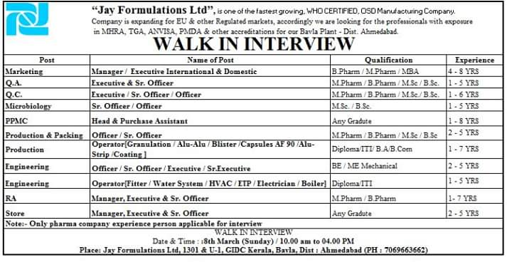 Jay Formulation Ltd – Walk in interview for Multiple Position on 8th March 2020