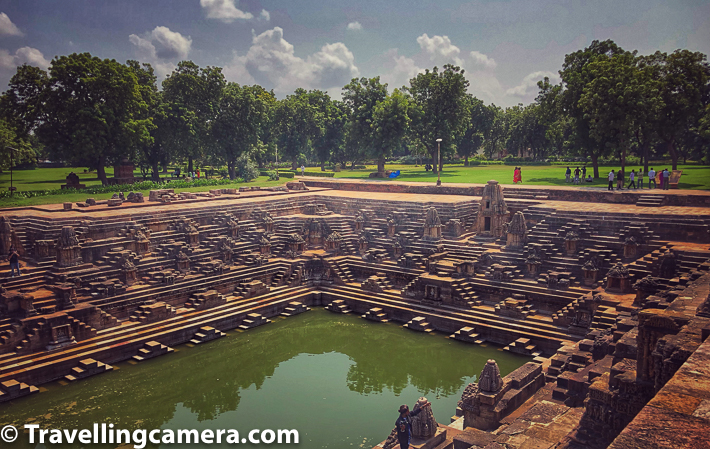 Above photograph is clicked from main Sun Temple facing towards the water reservoir. If you notice the background of photograph above, there is plenty of trees around well maintained & lush green lawns. These are brilliant spots to sit around & enjoy the beauty of Modhera Sun Temples in Gujrat.
