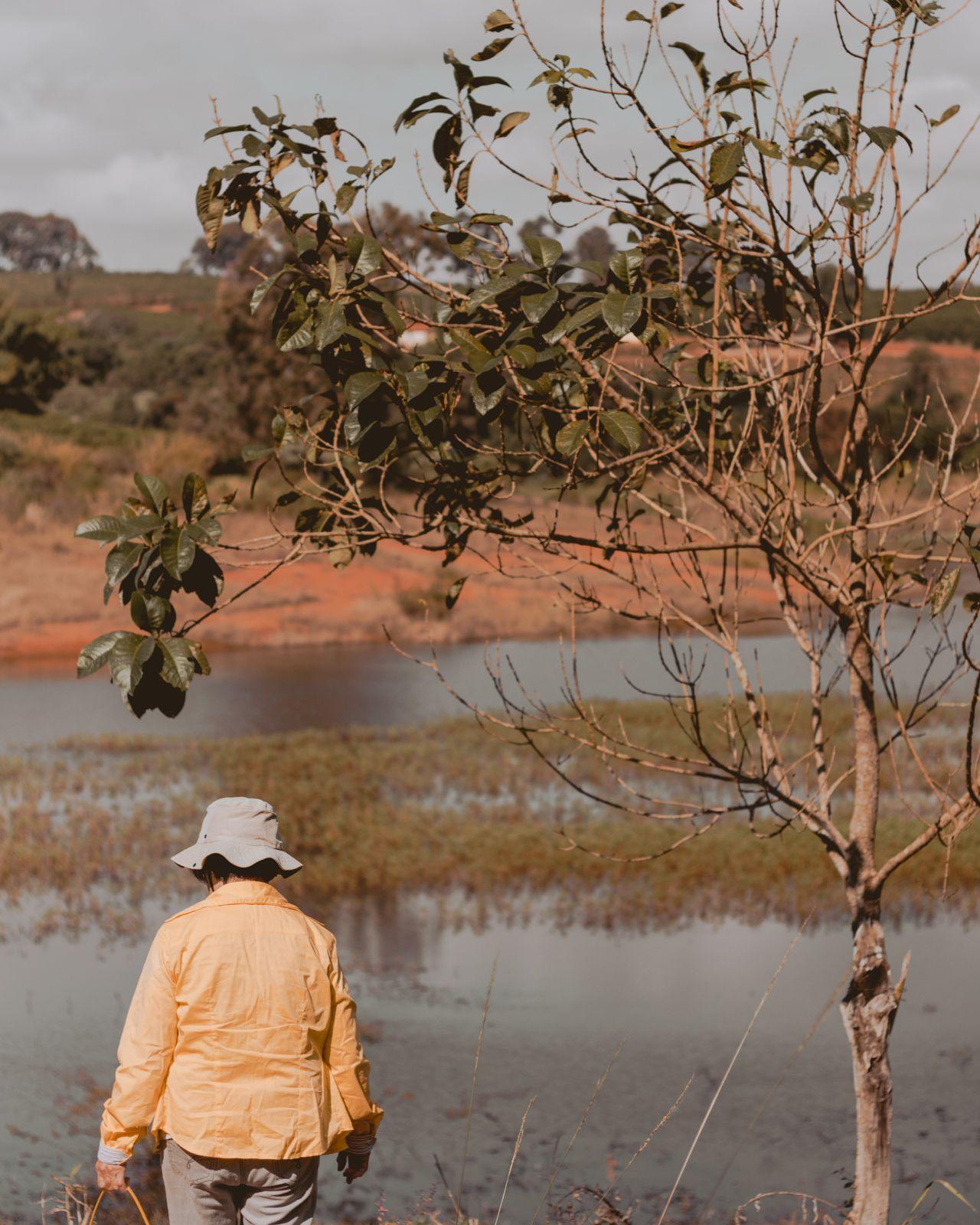 pescadora com blusa amarela e chapéu ao lado a árvore