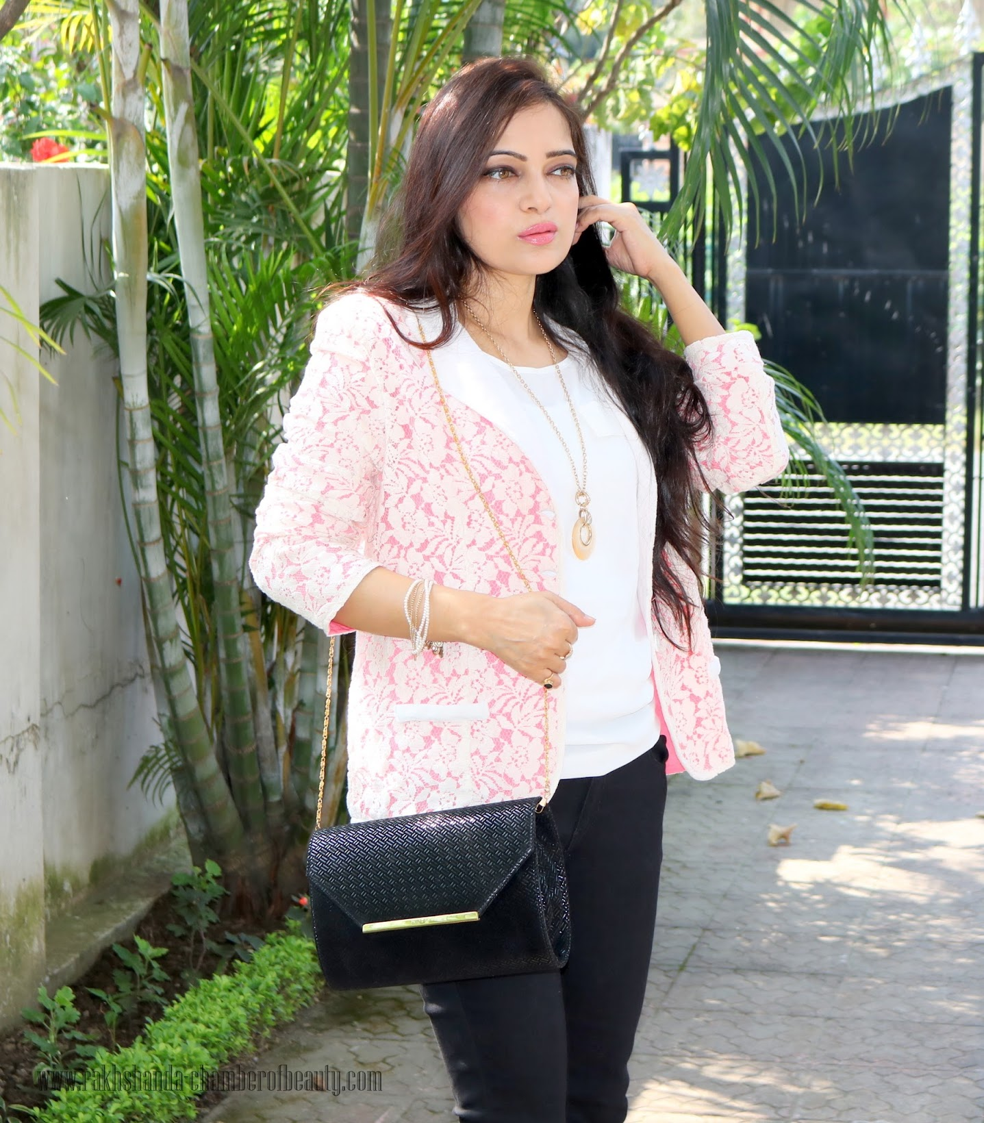 Pink and lace blazer from Stalkbuylove, How to wear a blazer, Breast cancer awareness, Fashion trends 2015, Stalkbuylove Pink Ribbon Collection, Indian fashion blogger, Chamber of Beauty
