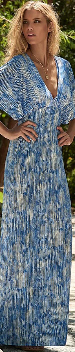 MELISSA ODABASH FRANCESCA V-NECK LONG DRESS BLUE AQUA