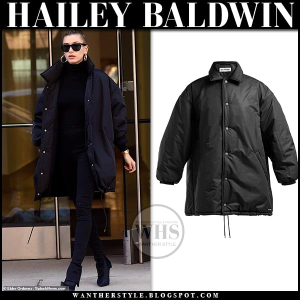 b69483780c6 Hailey Baldwin in black oversized padded Balenciaga cocoon parka and black  sock boots. Casual off