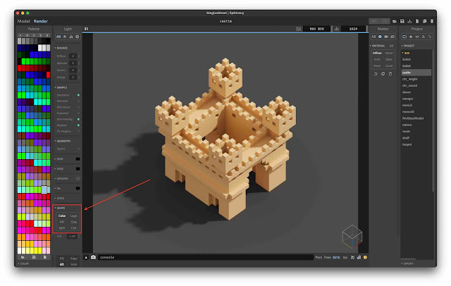 Shape options in MagicaVoxel