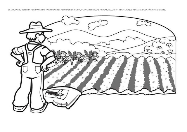 Colorear dibujo de campesino mirando su campo cultivado