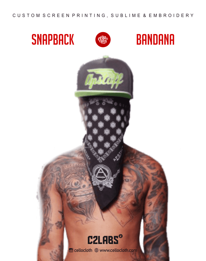 Bikin Topi Snapback Bordir and Bandana Custom Sablon dan Printing - C2 Labs