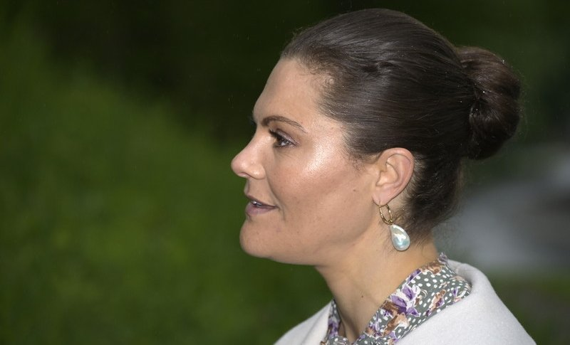 Crown Princess Victoria wore a printed bow dress from by Timo, and ivory annecy jacket from Toteme