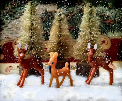 tiny plastic deer in snow christmas sisal trees