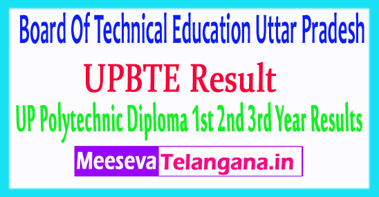 Board Of Technical Education Uttar Pradesh UPBTE Result 2019 1st 2nd 3rd Year Polytechnic Results 2019