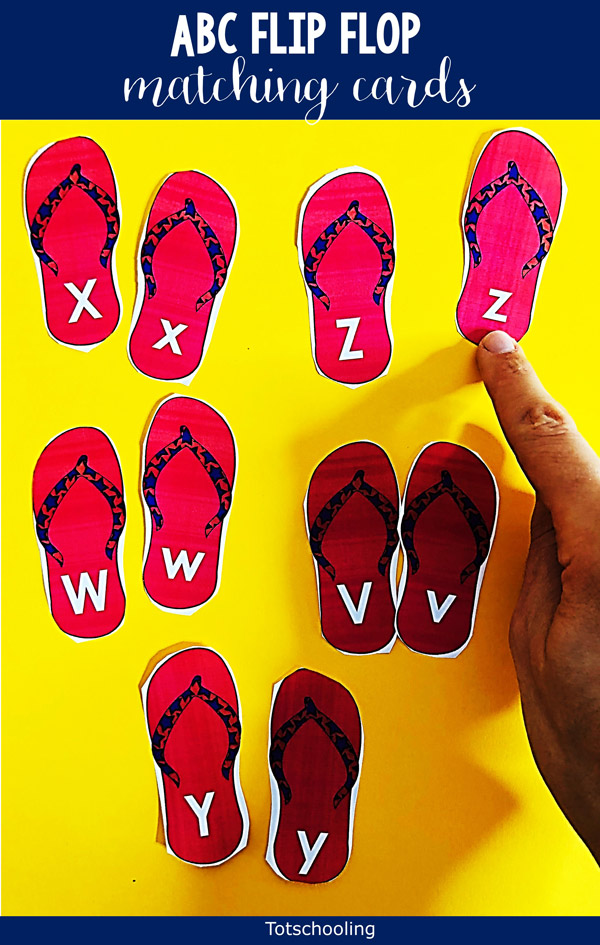 FREE printable Summer themed ABC matching activity featuring flip flops! Preschool, pre-k and kinder kids will love to match the uppercase and lowercase letters.