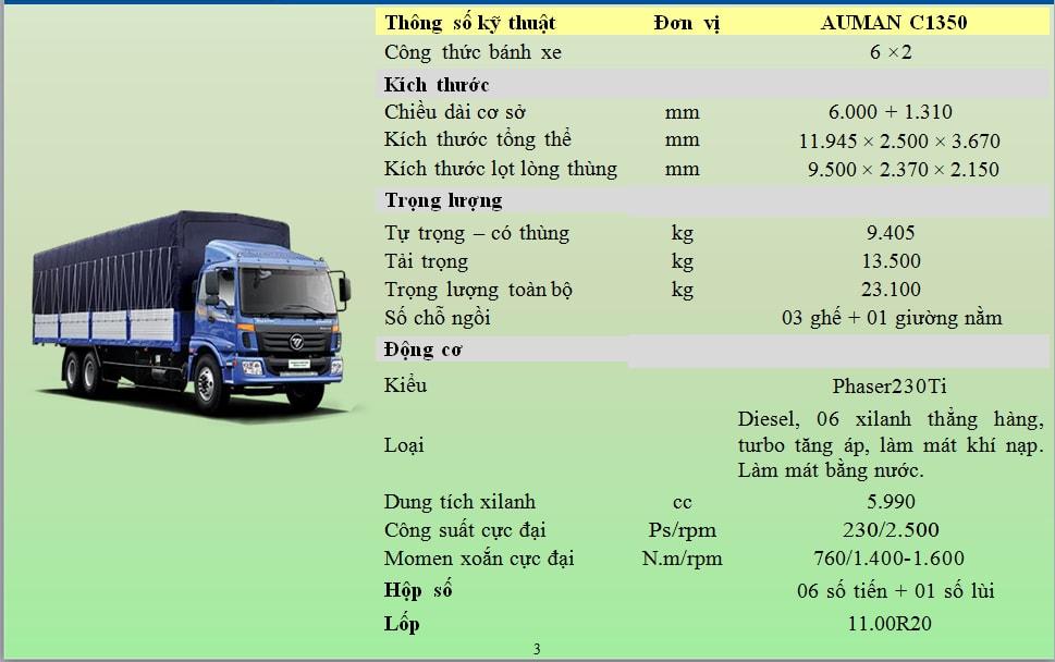Thông số kỹ thuật xe tải 3 chân Thaco Auman AC1350  tại Hải Phòng