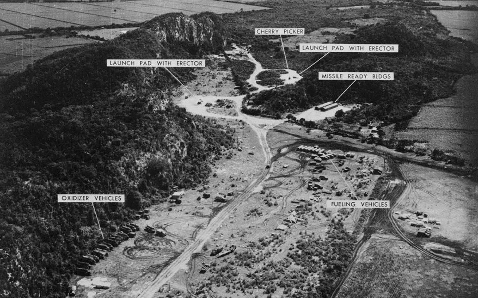 A low-level photograph taken November 1, 1962, of a Medium Range Ballistic Missile Site at Sagua La Grande, Cuba.