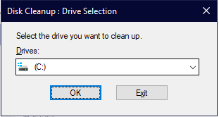 Disk Cleanup: Drive Selection