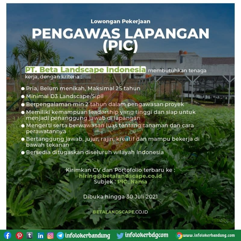 Lowongan Kerja Pengawas Lapangan (PIC) PT. Beta Landscape Indonesia Bandung Juli 2021