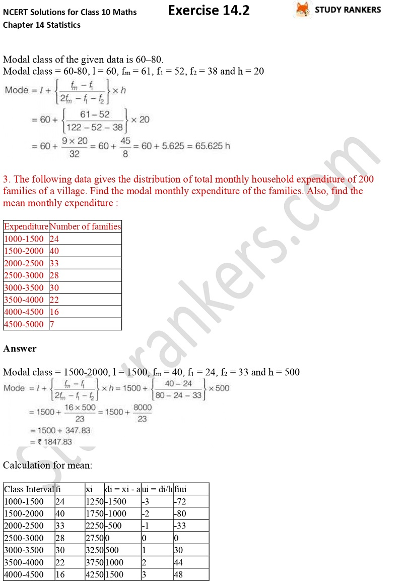 NCERT Solutions for Class 10 Maths Chapter 14 Statistics Exercise 14.2 Part 2