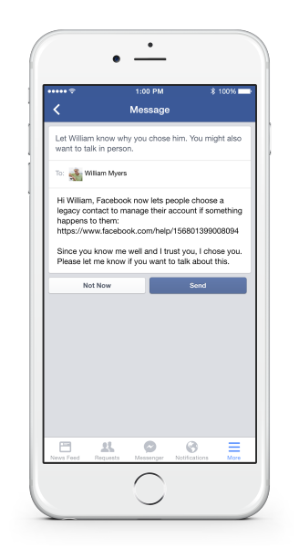 Facebook debuts 'Legacy Contact' feature - Lets people choose a legacy contact-a family member or friend who can manage their account when they pass away