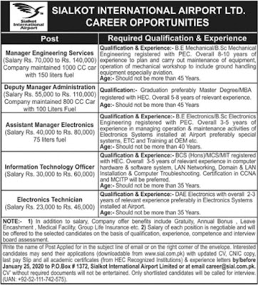 Sialkot International Airport Jobs January 2020 Download Application Form - Salary 140000