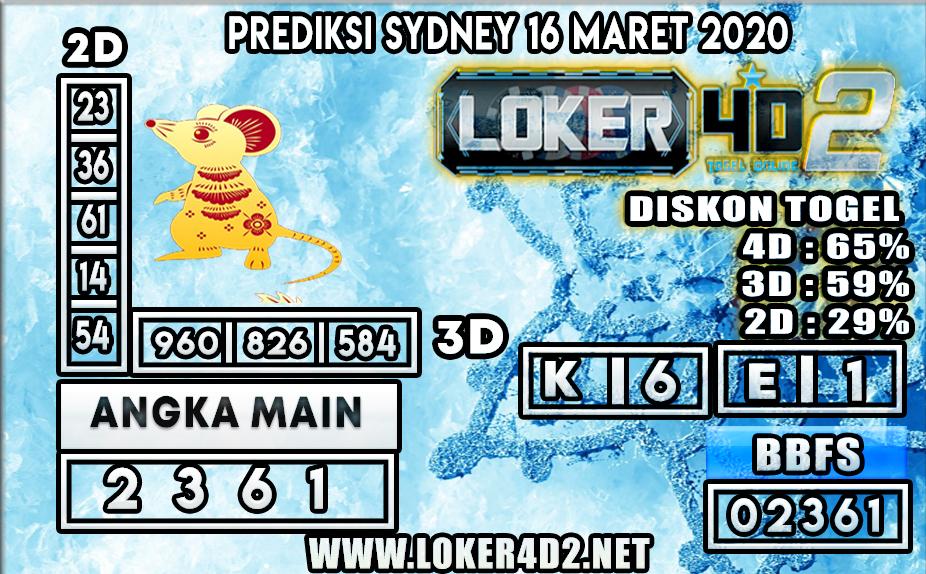 PREDIKSI TOGEL SYDNEY LOKER4D2 16 MARET 2020