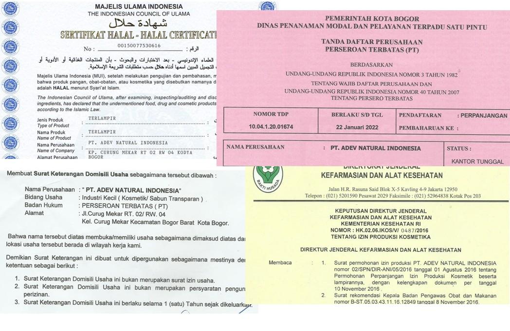 Legalitas Perusahaan PT. Adev Natural Indonesia