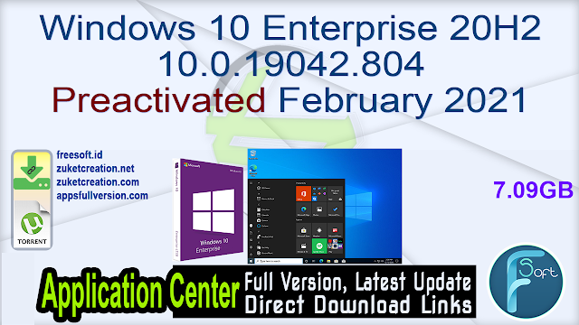 Windows 10 Enterprise 20H2 10.0.19042.804 Preactivated February 2021