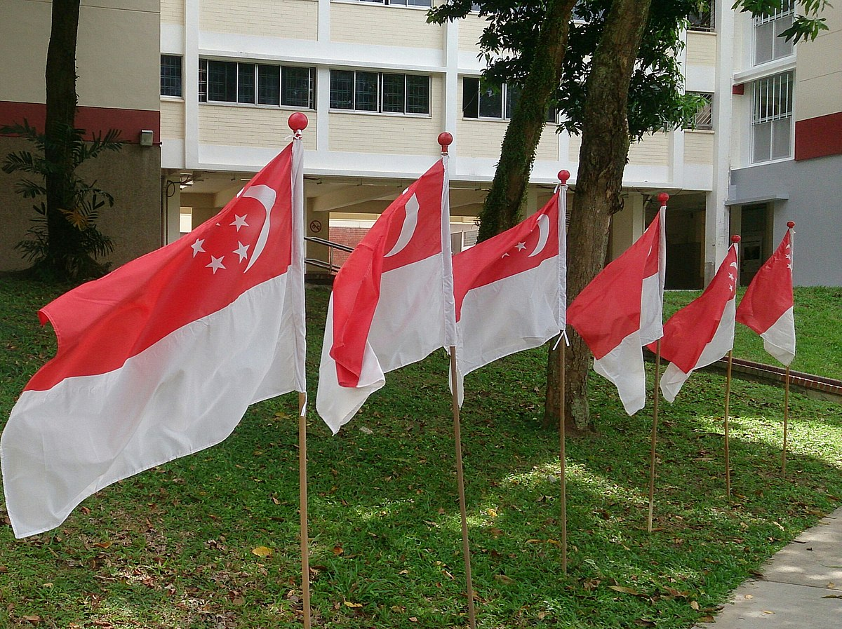 Bendera Singapura Berkibar