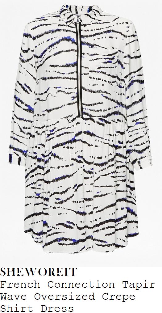 lucy-mecklenburgh-white-black-blue-animal-print-zip-detail-long-sleeve-shirt-smock-mini-dress
