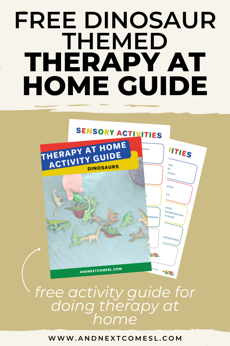 Free dinosaur themed therapy at home activity guide for parents and therapists