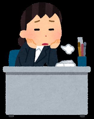 やる気のない会社員のイラスト(女性)