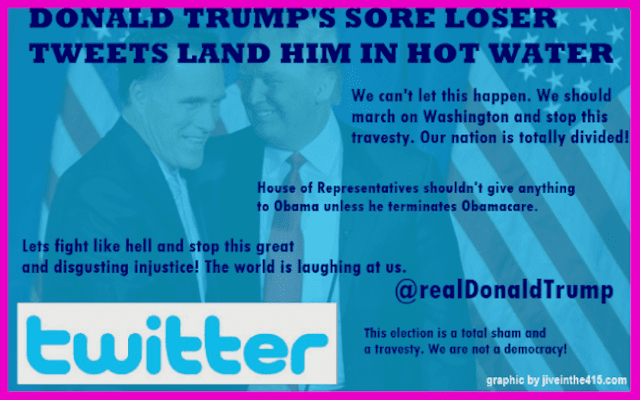 """The text """"Donald Trump's Tweets Land Him In Hot Water"""" is imposed over a photo of Donald Trump and Mitt Romney, and the text from several problematic tweets."""