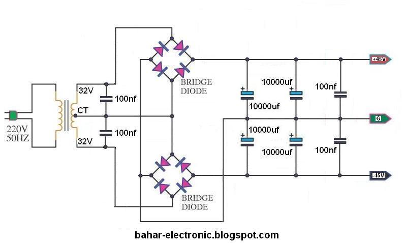 bahar electronic  power supply simetris dual bridge power