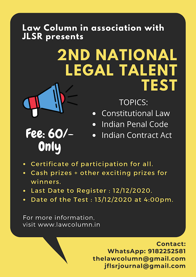 [Online] National Legal Talent Test by Law Column in Association with Journal for Law Students & Researchers [Register by 12 December 2020]