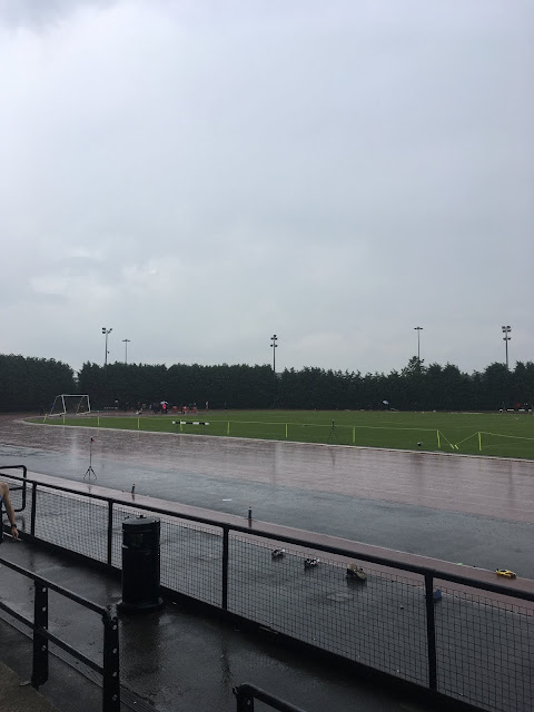Robin Park athletics track in the rain