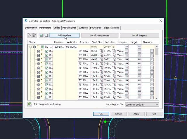 Add baseline in Civil 3D
