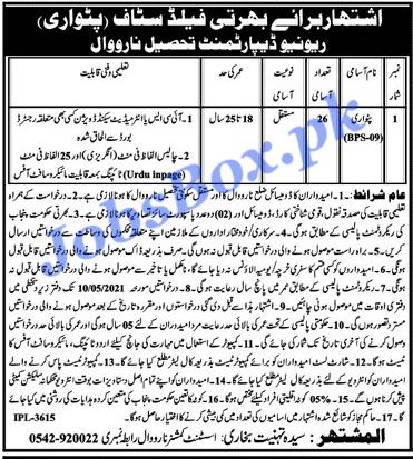 revenue-department-narowal-patwari-jobs-2021-advertisement