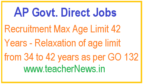 AP Govt Direct Recruitment Max Age Limit 42 Years - Relaxation of age limit from 34 to 42 year