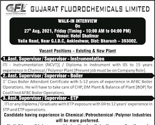 Gujarat Fluorochemicals Limited Recruitment ITI and Diploma Holders For Supervisor Post   Walk-in Interview