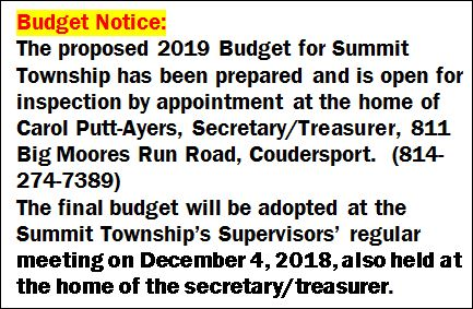 Summit Township Budget Notice
