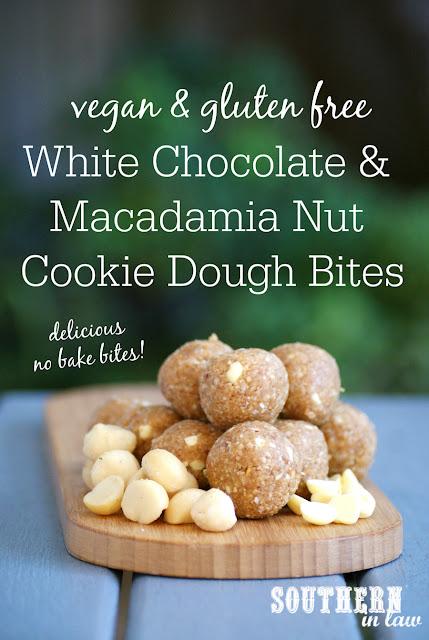 Vegan White Chocolate and Macadamia Nut Cookie Dough Bites - raw, vegan, gluten free, sugar free, healthy