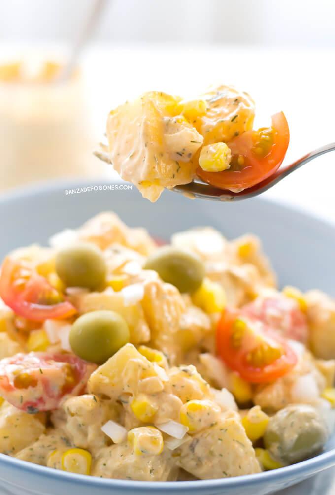 Salad with vegan ranch sauce | danceofstoves.com