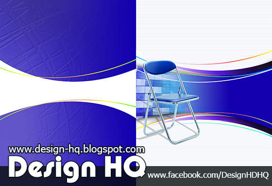 Corporate advertising posters folding chairs blue background